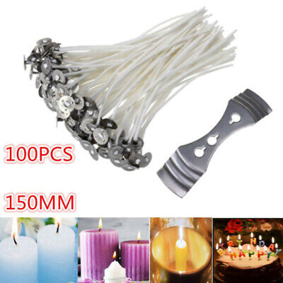 100X Pre Waxed Wicks For Home Candle Making Cotton With Sustainers 15cm Long UK