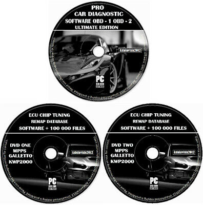 OBD 1 OBD 2 Pro Car Diagnostic Software + ECU BHP Tuning Remapping ELM 327 DVD