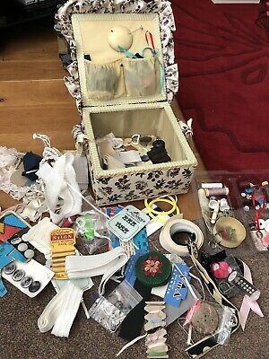 Vintage Sewing Box And Contents Hooks And Eyes Hat Pins Singer Spools G1p