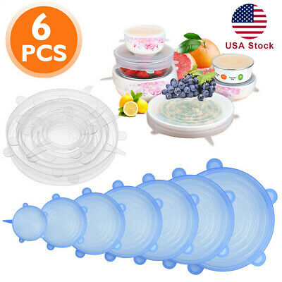 6pcs Reusable Silicone Stretch Lids Kitchen food Storage Wraps Cover Various US