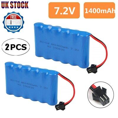 2Pc 7.2V 1400mAh AA Battery w/ SM Connector Fr Remote Control RC Car Vehicle Toy