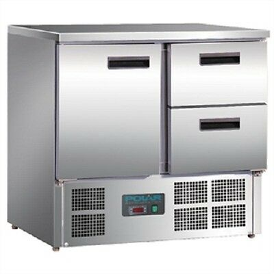 Polar 1 Door and 2 Drawer Counter Fridge 240Ltr Litre- U637  Catering Commercial