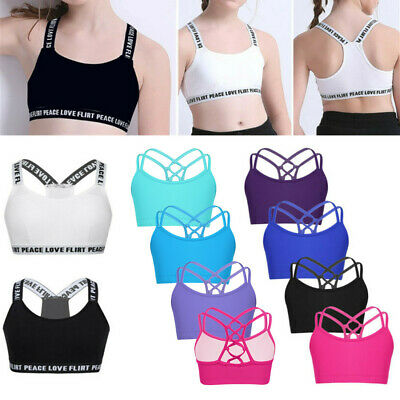 Girls Crop Top Gym Dance Camisole Vest Fitness Yoga Bra Running Sports Brallette