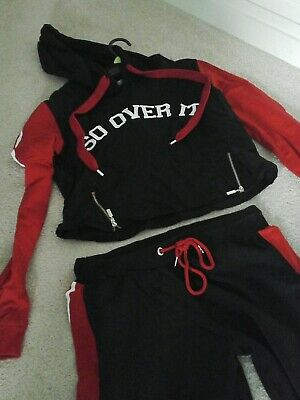 girls tracksuit top&bottoms  red & black fits  age  12  Select  cotton