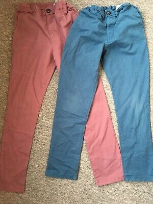 2 PAIRS MARKS & SPENCER PINK & BLUE CHINO TROUSERS ~ Age 9-10 Years