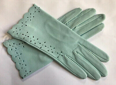 Dents Ladies Baby Blue Leather Gloves Size 7 Medium Bnwt
