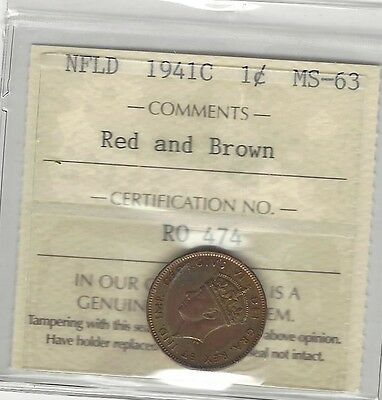 1941c, ICCS Graded, Newfoundland Small One Cent, **MS-63**
