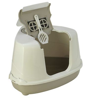Warm Grey Large Corner Cat Flip Litter Tray Box Hooded Pan Toilet Filter Scoop