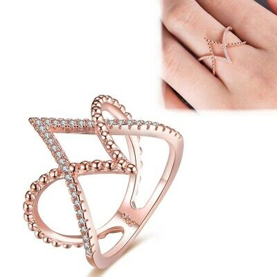 Wedding Jewelry Engagement Ring Cross Rose Gold Plated Round Cubic Zirconia