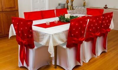 NEW Pre-Lit Twinkling Led Christmas Holiday 8Pk Chair Covers - Red