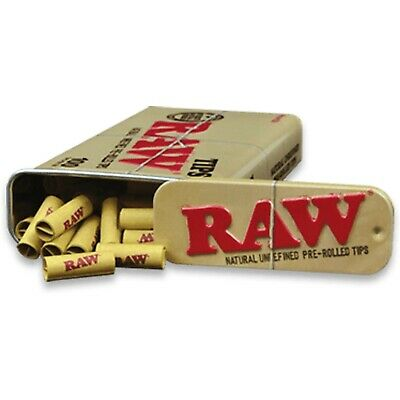 Raw Natural Unrefined Pre-Rolled Paper Roach Tips in a Reusable Stash Tin