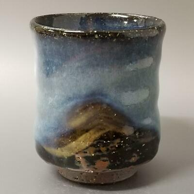 RB47)Japanese Pottery Yunomi/Tea Cup Blue glaze artist Seigan Yamane