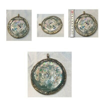 Afghanistan ancient Roman glass pendant brass very beautiful antique glass origi