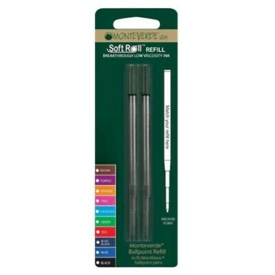 Monteverde USA Soft Roll Ballpoint Refill For Montblanc Pens - Black (2 Pack) (
