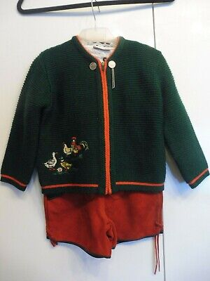 High Quality Traditional Costume Set, Leather Pants, Shirt, Cardigan, Size 110,