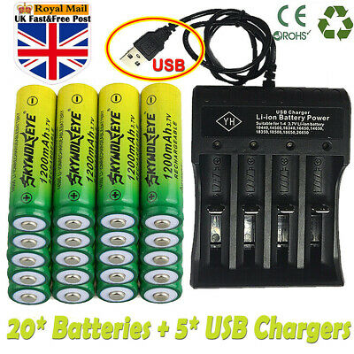 20X Rechargeable 1200mAh AA Battery 14500 3.7V Li-ion Lithium Batteries&Charger