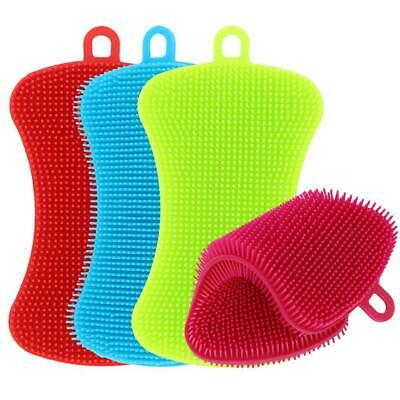 Silicone Dish Washing Brush Pot Pan Sponge Scrubber Kitchen Cleaning Pad Tool