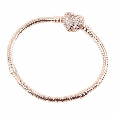 Pandora Authentic Rose Gold Women Chain Bracelet with HEART CLASP Charm Gift