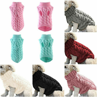 UK Pets Clothes Knitted Puppy Dog Jumper Sweater For Small Dogs Coat Cat Costume
