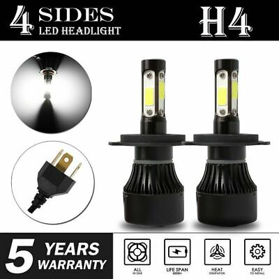 2Pcs 4-Sides H4 LED Headlight Kit Bulbs Hi/Lo Beam 6500K 9003 HB2 2500W 375000LM