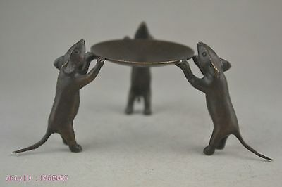 China collectible decorate handwork old copper 3 mice delicate candlestick