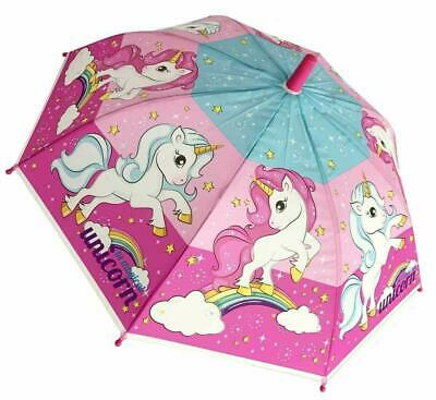 Childrens Unicorn Umbrella Pink Bubble Dome Brolly Kids Girls School Travel 9444