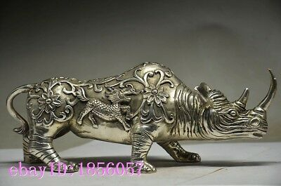 Collectible Chinese Silver Copper Handmade Carved Rhinoceros Statue