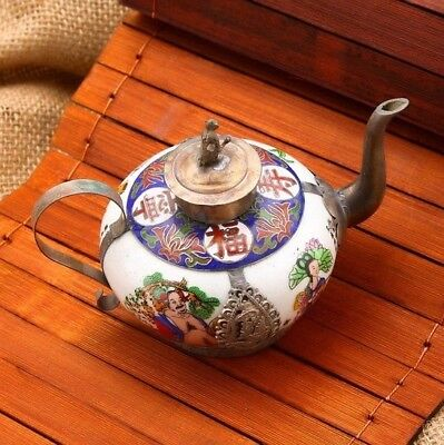 Exquisite Chinese Ancient Collectable Antique Tibet Health Life Blessing Teapot