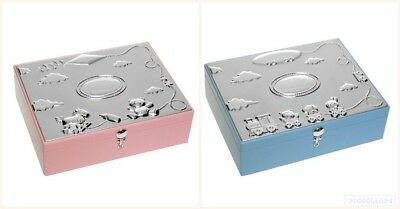 Silver Plated Christening Keepsake Box Baby Boy or Girl Pink Blue with gift box