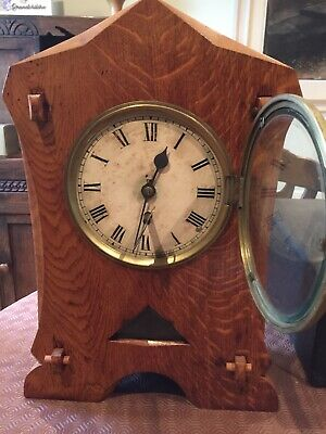 Old Mantle Clock oak looking case not tested
