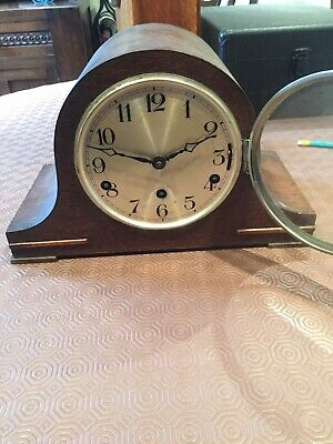 Old Wooden cased Chiming Mantle Clock - with key
