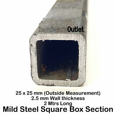 Square box section steel 30mm x 30mm x 2mm x 500mm
