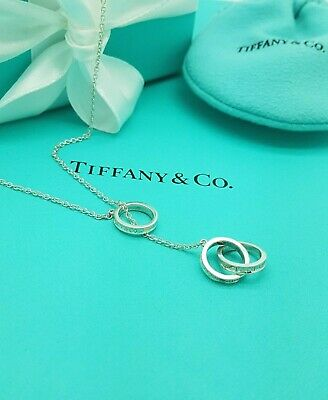 """Tiffany & Co. 1837 Interlocking Circles Lariat 18"""" Necklace in Sterling Silver"""