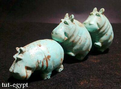 3 Rare Art Egyptian Hippo Hippopotamus Statue Figurine Egypt Sculpture unique