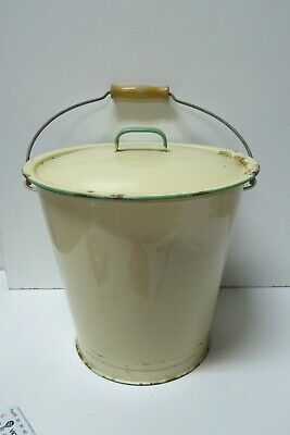 Vintage Enamel Ware Lidded Bucket Wooden Handle Grip Milk, Wash Pail Kockums