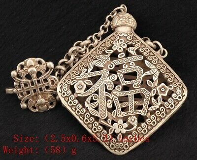 China Tibetan Silver Pendant Snuff Box Hollowed-Out Gift Collec