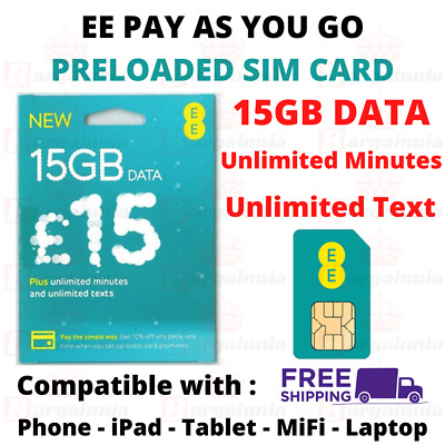 EE Pay As You Go Sim Card with £15 Preloaded Credit 8GB Data Unlimited Text 4G
