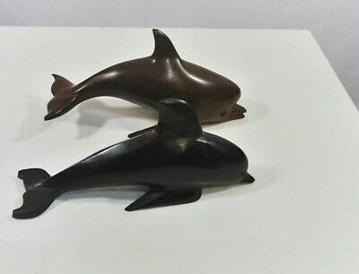 Vintage Ironwood Carved Wood Dolphins -2-  Solid Wood & Beautiful