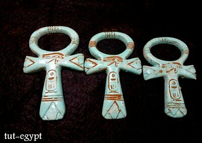 3  RARE ANCIENT EGYPTION ANTIQUE ANKH KEY OF LIfe,HOrus Eye Amulet (1359-1147BC)