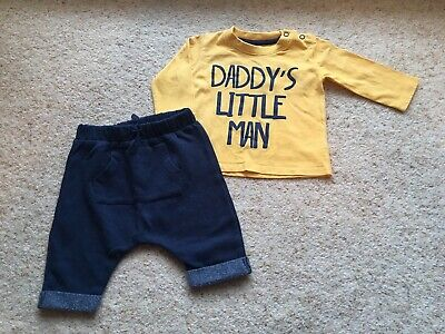 Baby boy outfit 0-3 months next Navy Trousers + Yellow Daddys Little Man Top