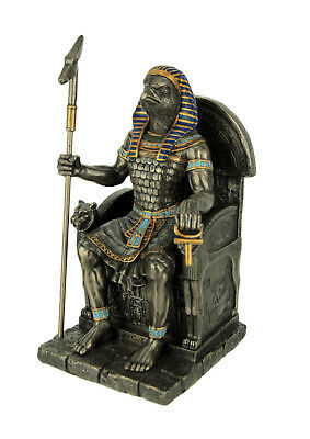 Horus Egyptian Falcon Headed God On Throne with Staff Statue