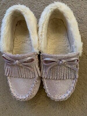 Girls Pink Sparkly Moccasin Slippers Size 10