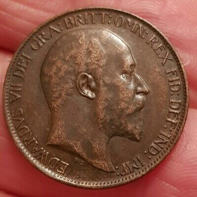 High Grade 1907 Edward Vii Halfpenny H60 Very Good Detail Rare In This Condition