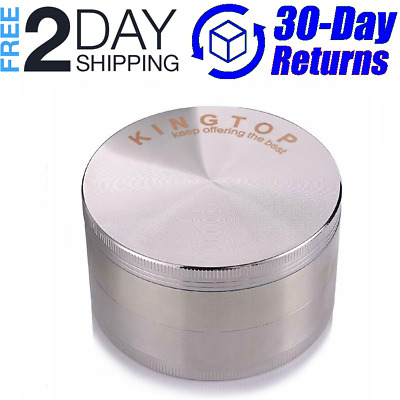 KINGTOP Herb Spice Grinder Large 3.0 Inch Silver - NEW Free Shipping