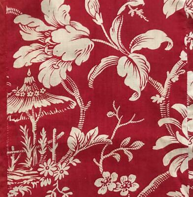 BEAUTIFUL LATE 19th CENTURY FRENCH LINEN COTTON INDIENNE PARASOL FLOWERS 656