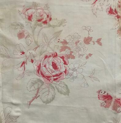 BEAUTIFUL 19th CENTURY FRENCH LINEN COTTON BUTTERFLY ROSES c1880 658