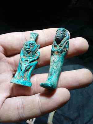 2 RARE Ancient Egyptian antique GOD BES, Shabti Figures & Amulets (300 BC)