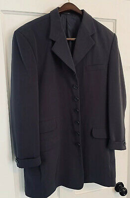 VITTORIO ST. ANGELO Mens 6 BUTTON coat jacket LONG Overcoat Charcoal Grey 44R