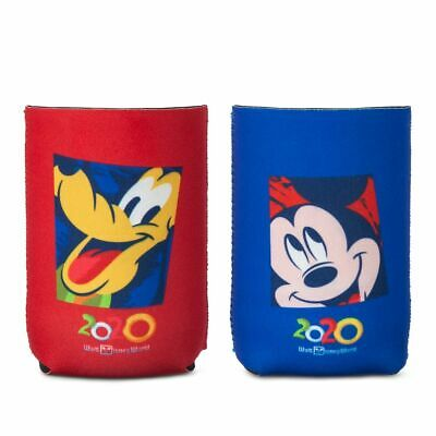 Disney Parks 2020 Dated Pluto & Mickey Mouse Beverage Holder Koozie Set NEW