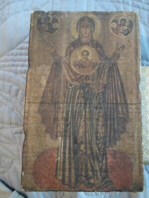 Antique Virgin Mary and Baby Jesus Greek Orthodox Icon Painting on Wood
